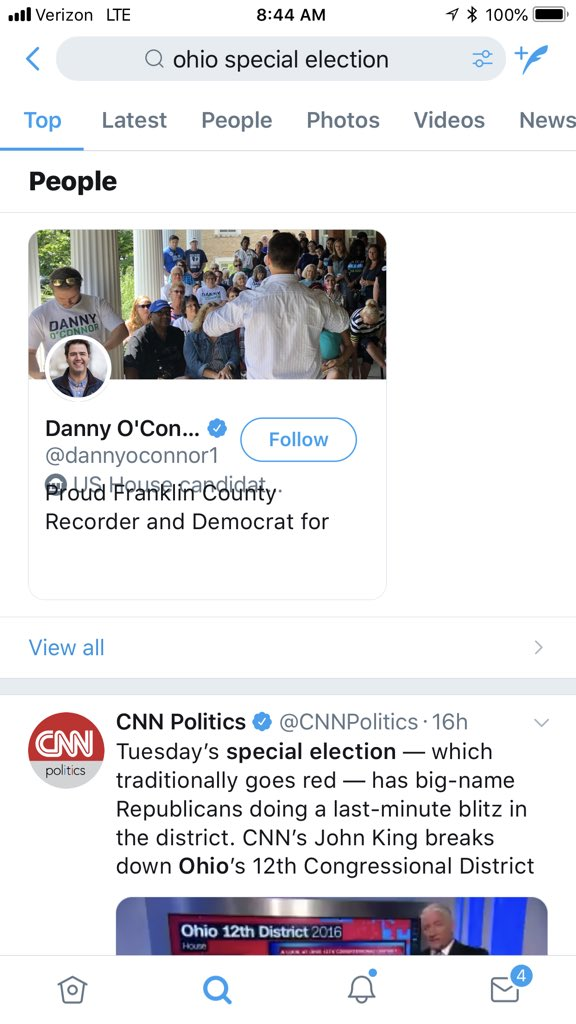 """Yesterday I did a little check & searched """"Ohio Special Election"""" here on Twitter. Notice how in both the Top & People section only the democratic candidate shows up. The GOP candidate in the same race doesn't even appear! I'm sure it's a 1 way coincidence for the 1000000th time"""