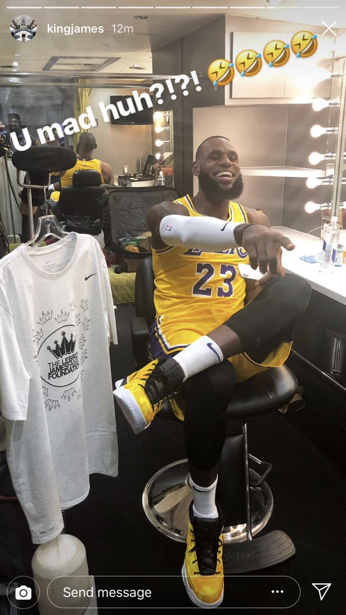 .@KingJames in his new uniform with a little #MambaMentality for good measure