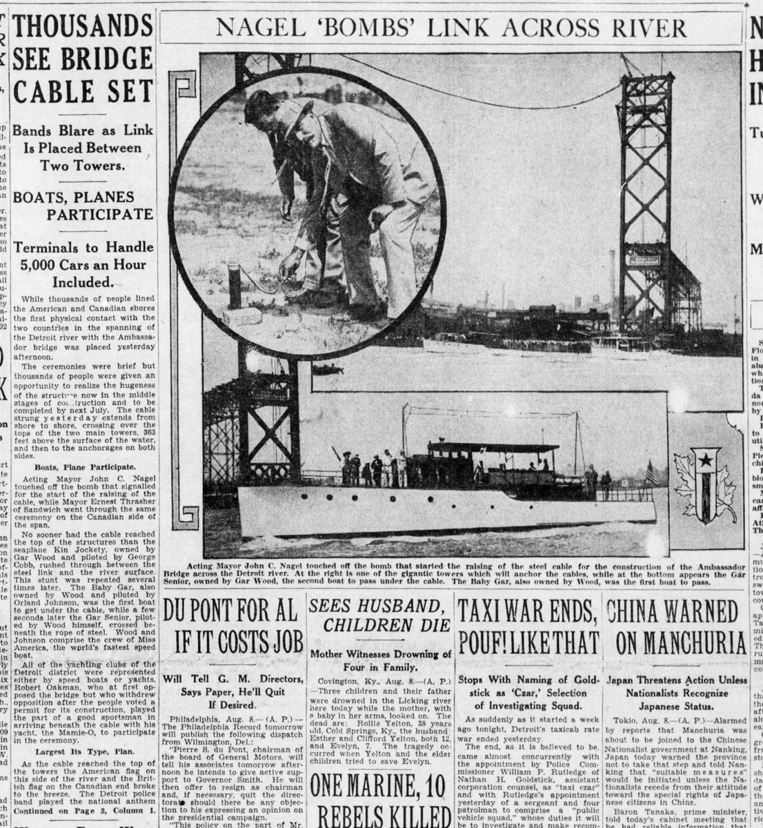 1928 : Ambassador Bridge Lays First Cable