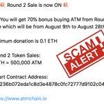 Image for the Tweet beginning: SCAM ALERT!  Please note: 1. ATMChain token
