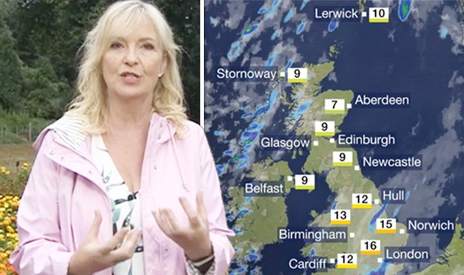 Carol Kirkwood : BBC weather forecast Carol Kirkwood issues