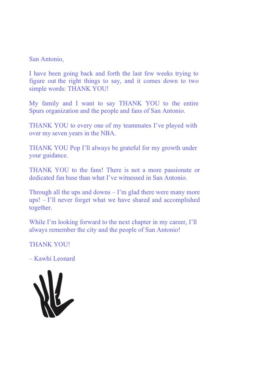 Jabari young on twitter kawhis full thank you letter to spurs jabari young on twitter kawhis full thank you letter to spurs teammates and fans nba expocarfo Gallery