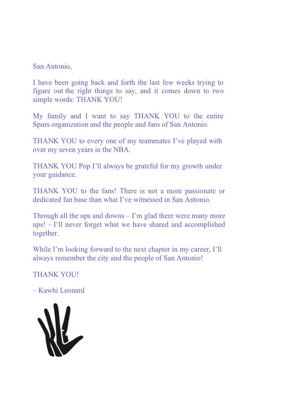 jabari young on twitter   u0026quot kawhi u2019s full thank you letter to