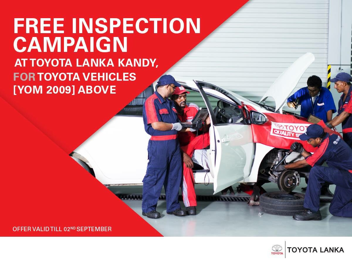 Get to know the condition of your car inside out from the maker. Drive down to Toyota Lanka Kandy for a detailed inspection using the latest diagnostic technology from Toyota quality service.  Offer valid until 02nd September  *Conditions Apply https://t.co/34CFIBkZAn