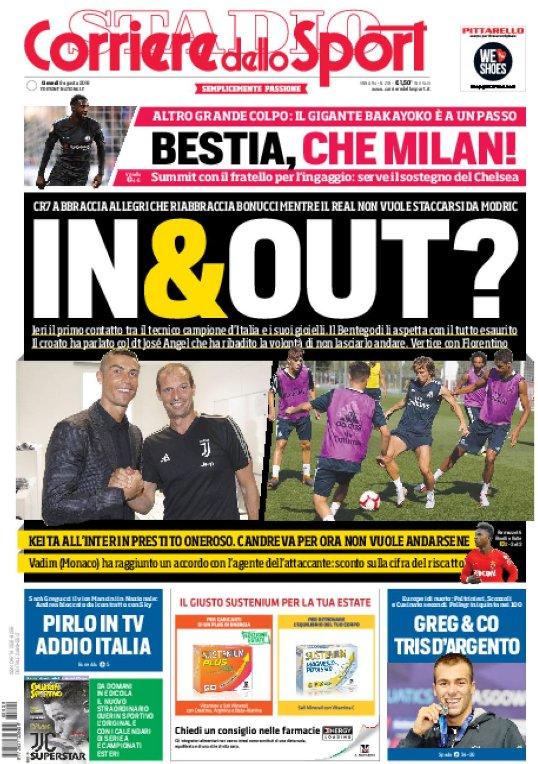 Ecco la #primapagina di oggi:- #CR7 e #Modric, in & out?;- Bestia, che #Milan;- #Pirlo in TV addio #Italia;Leggi l\