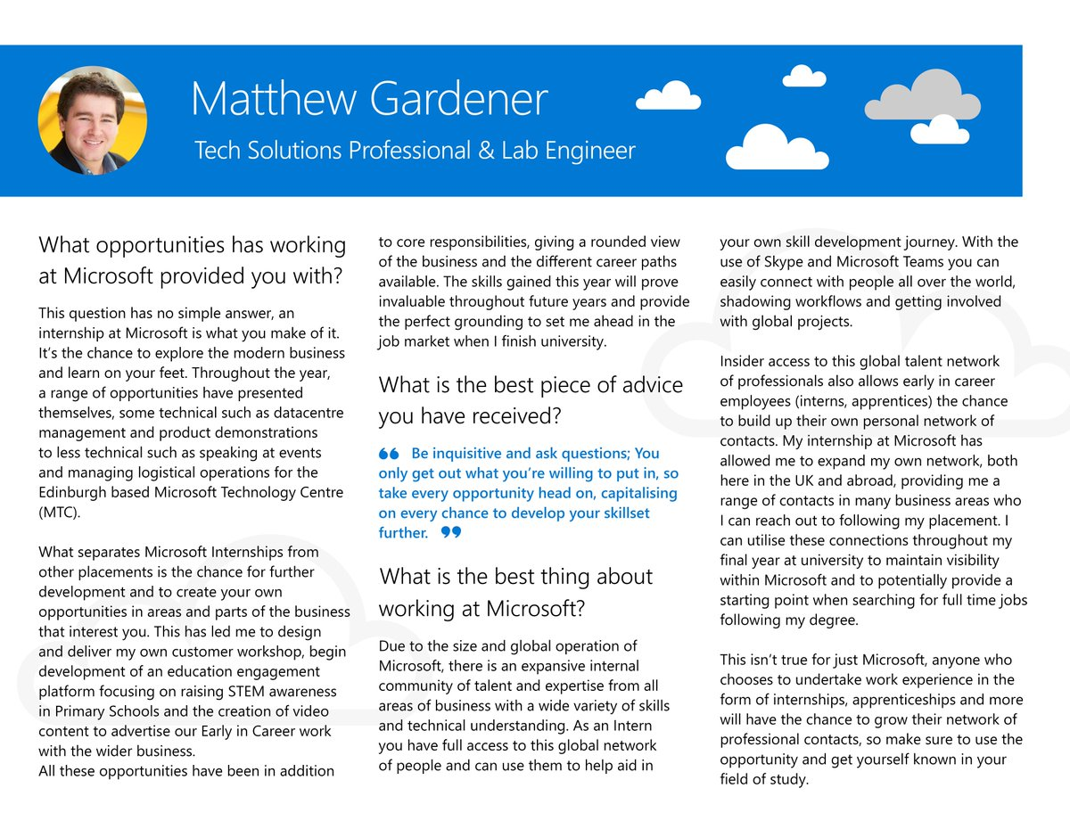 This month our employee featuring in our #ProfileOfTheMonth is Matthew Gardener!  Matthew started his Internship in Edinburgh last July, and whilst working here has secured himself a Microsoft Graduate position for when he leaves University next September!  #CareersinTech #STEM<br>http://pic.twitter.com/1lAWF6w7Tr