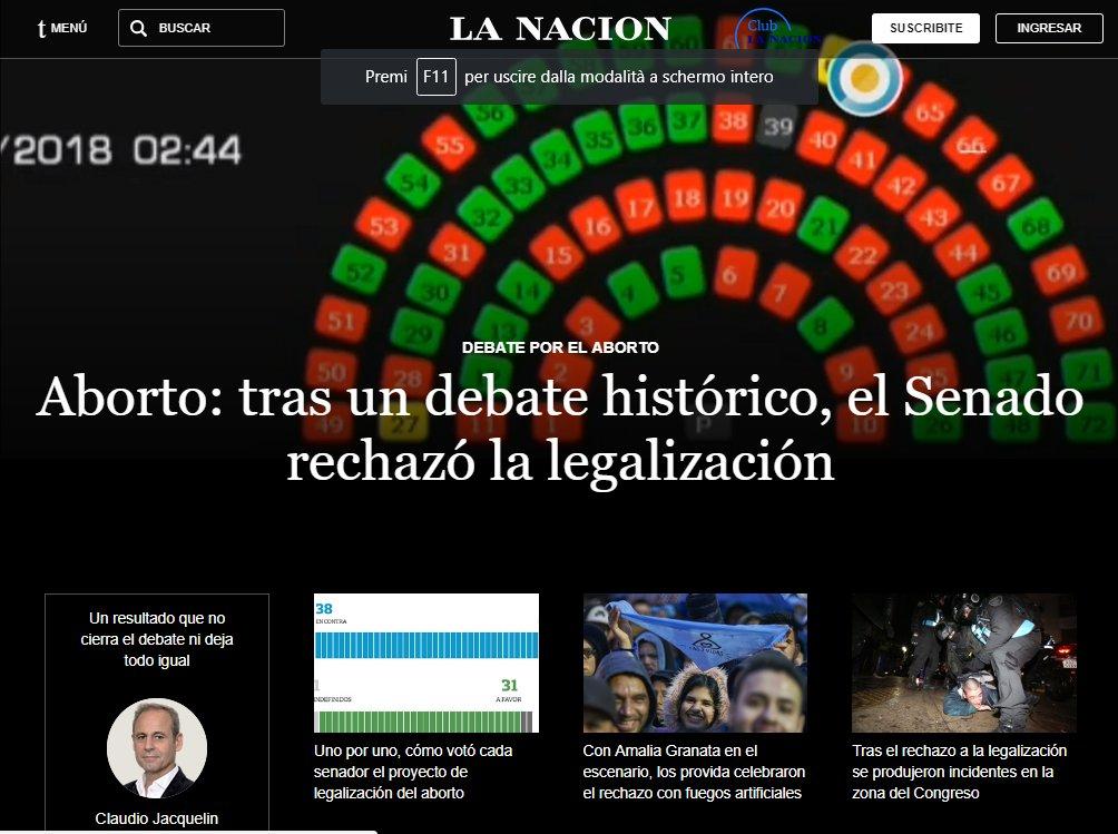 #ARGENTINA SCEGLIE LA VITA: Il SENATO BLOCCA LA PROPOSTA DI LEGGE PER LEGALIZZARE L\