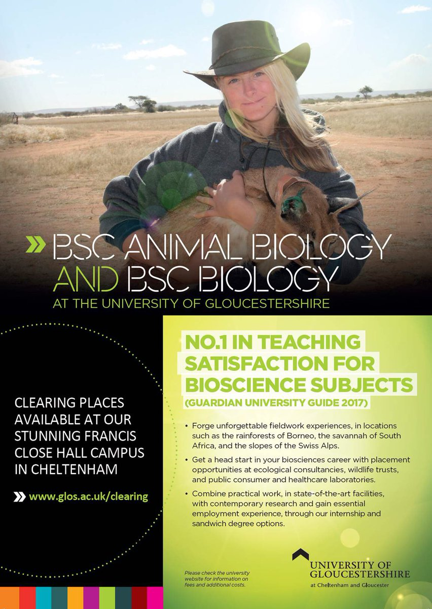 With a week until #ALevelResults we are looking forward to welcoming our new students. There are a few places left on BSc Animal Biology &amp; BSc Biology so if you're still looking for a dynamic, interesting and practical course, do get in touch! #Clearing @uniofglos<br>http://pic.twitter.com/JZWO2EMI1k