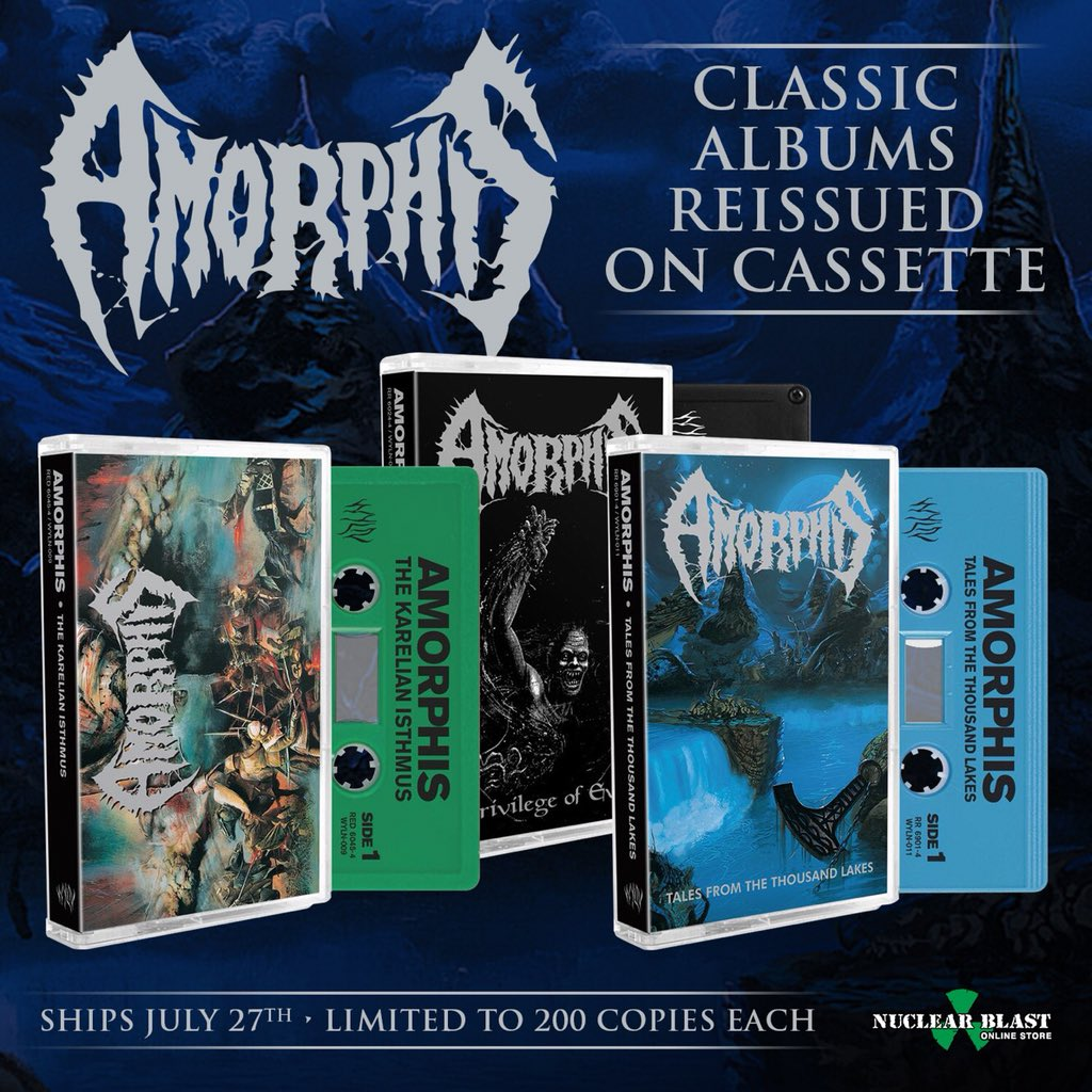 Old school! Available now @nuclearblastusa #amorphis #talesfromthethousandlakes #thekarelianisthmus #privilegeofevil #cassette https://t.co/EWf1wxRqyU