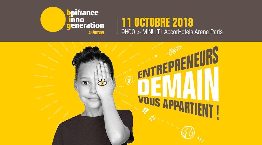 Le 11 octobre prochain, @Bpifrance  #InnoGeneration revient à l\