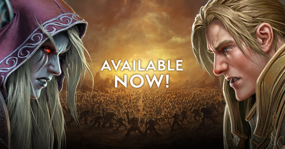 @TorInve A new age of war has erupted between the Horde and the Alliance. #BattleforAzeorth is now live! https://t.co/Q6b8M9J1fG
