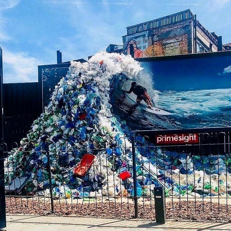 Thoughtful billboard highlighting pollution in our oceans... #branding #advertising #art #installation #plasticpollution #Ocean #Green