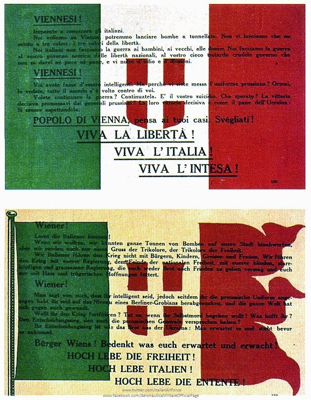 """#AccaddeOggiIl #9agosto 1918 sette velivoli SVA dell'87ªSquadriglia """"Serenissima"""" al comando del Magg. Gabriele D'Annunzio sorvolarono #Vienna lanciando migliaia di manifesti tricolori che invitano gli austriaci alla resa.#lanostrastoria #AeronauticaMilitare #latuasquadrachevola  - Ukustom"""