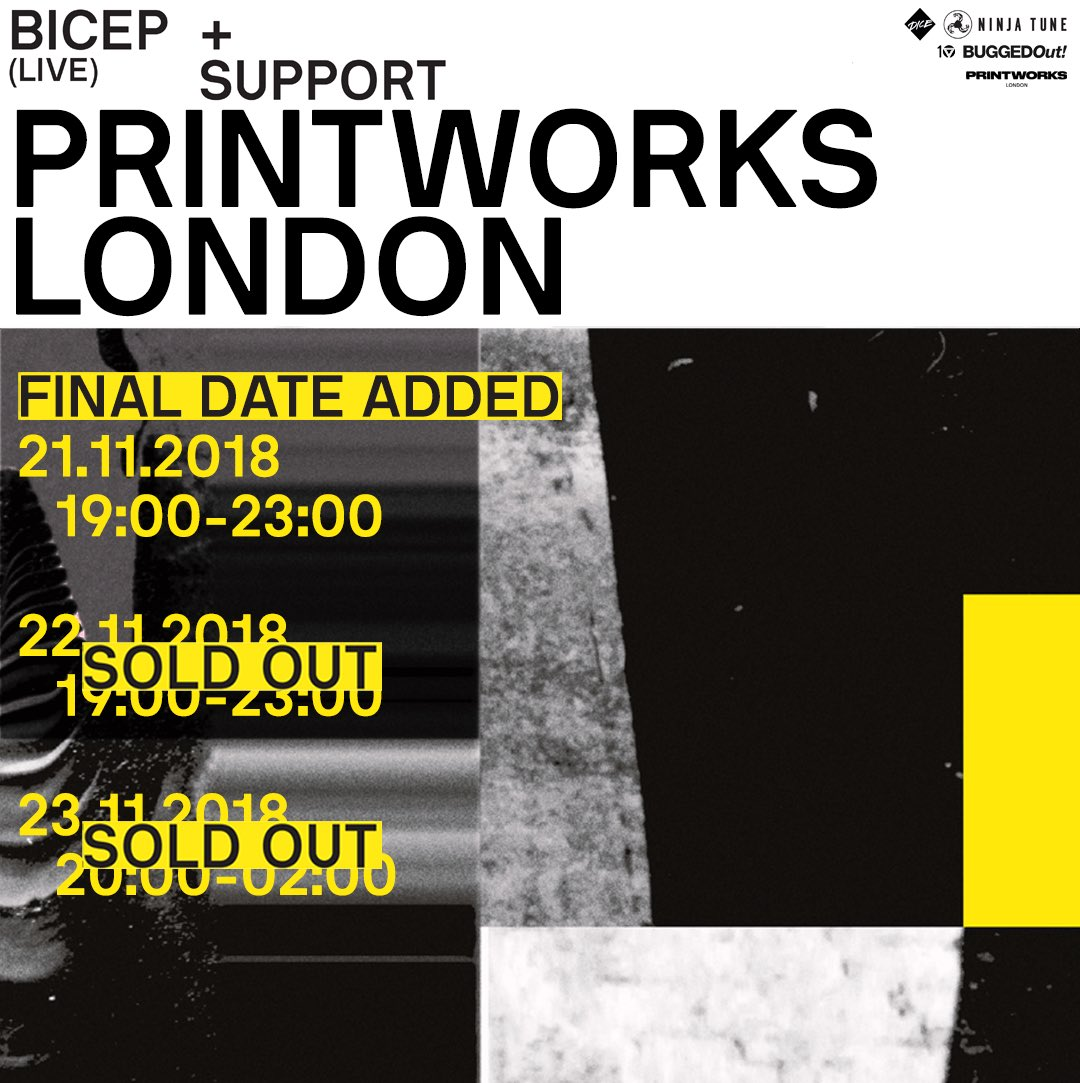 TICKETS FOR OUR 21.11.-8 PRINTWORKS SHOW GO ON SALE TOMORROW 10AM. THIS IS THE LAST CHANCE TO SEE OUR LIVE SHOW IN LONDON TILL 2020. GET A REMINDER HERE: link.dice.fm/bicep-printwor…