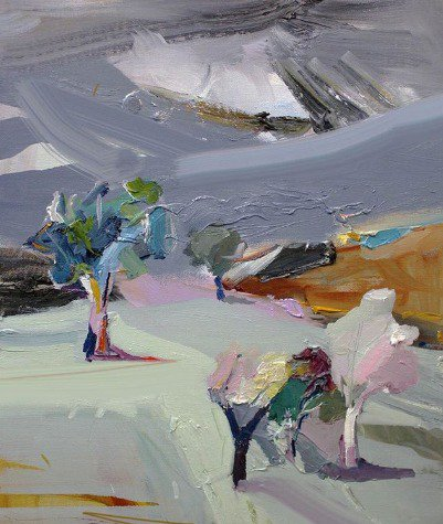 """A trip to the #Victorian high country. Mt Buller appears through snow laden clouds, sun glinting light and #colour on ice laden trees. """"Mt Buller Near Mansfield"""", 35X45cm, oil on board. #painting #artgallery #inspiration<br>http://pic.twitter.com/QIzqD3IhfD"""