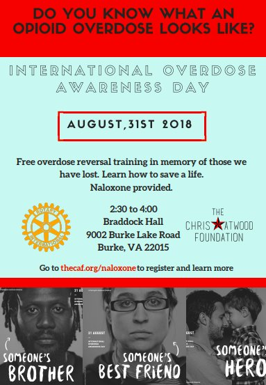 We support community leader @ChrisAtwoodFND, nonprofit trailblazer in northern Virginia doing advocacy, overdose prevention/awareness, and celebration of #recovery.  Save the date *8/31/18* for their free NARCAN training in Burke, VA. RT to share the info.