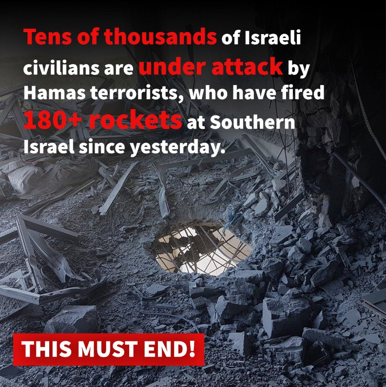 This latest round of #Hamas terrorism from #Gaza is again brutally directed against Israeli civilians. This must end!