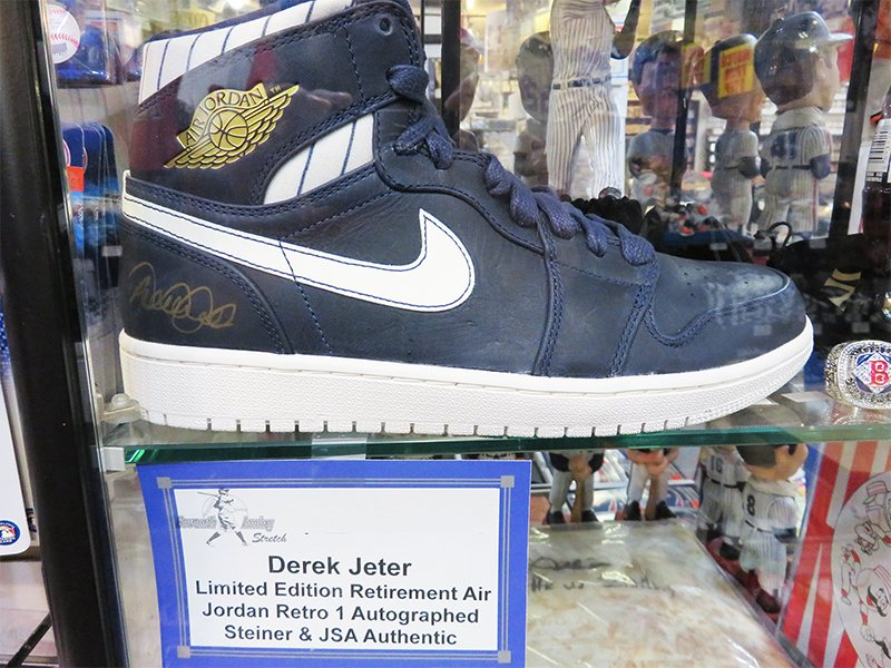 429eb3351c29 The Jeters Limited Edition Retro Jordans, The Series 1 Jordans, and Anna  Kournikova match worn Adidas tennis shoes. These are on display at 7th  Inning ...