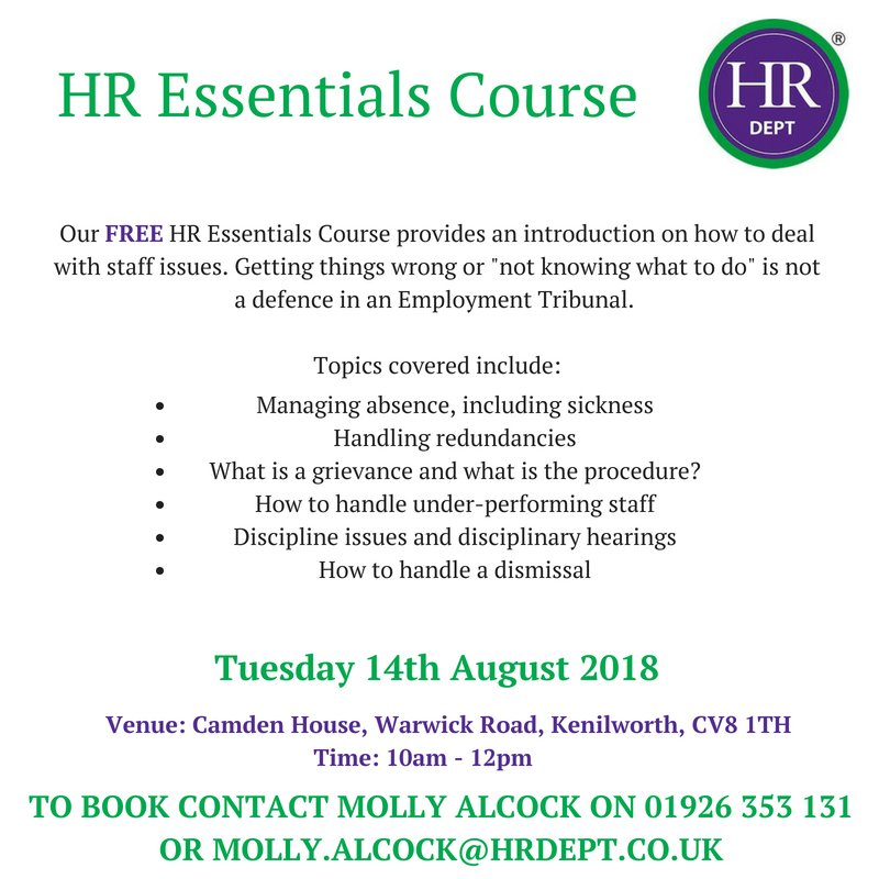 Come along to our FREE 2 hour workshop next week to brush up on your HR and ensure you stay out of tribunal! Places available through booking - just call 01926 353 131.