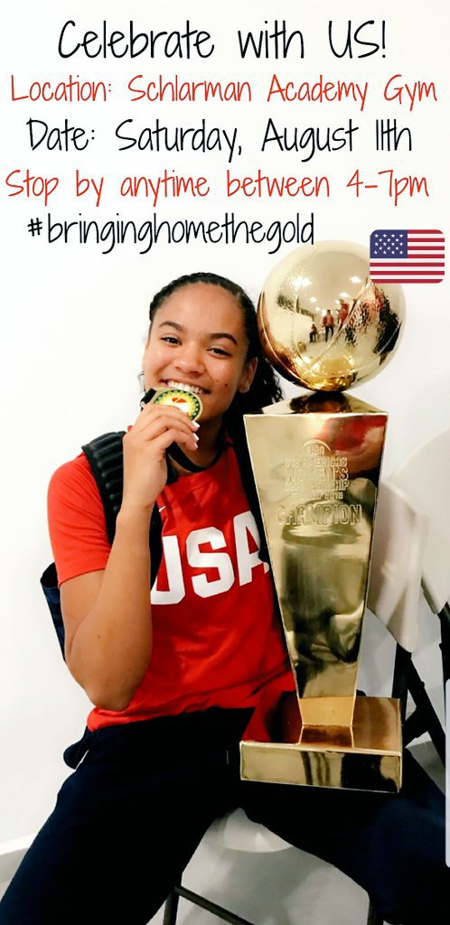 Join us as we celebrate the return of OUR very own Danville-Schlarman's Anaya Peoples. Anaya returns with her Gold medal after competing in the 2018 U18 FIBA Americas with TEAM USA.  Location: Schlarman Gym Date: Saturday, August 11th  Anytime between 4-7pm #bringinghomethegold