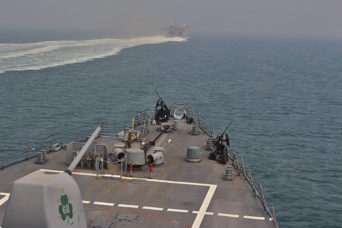 Aug. 8 - USS The Sullivans (DDG 68) conducts a routine transit through the Strait of #Hormuz with the Military Sealift Command joint high-speed vessel USNS Choctaw County (JHSV 2) @US5thFleet #Strait_of_Hormuz