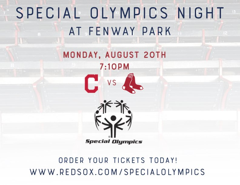 Come support @SpOlympicsMA while cheering on the @RedSox for @SpecialOlympics night at Fenway, August 20! #ChooseToInclude #RedSox  http://www. redsox.com/specialolympics  &nbsp;  <br>http://pic.twitter.com/FKeu68zHic