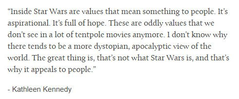 &quot;It's full of hope&quot;  Thank you Kathleen Kennedy   #reylo #saveBenSolo #StarWars<br>http://pic.twitter.com/fyQikOJelD