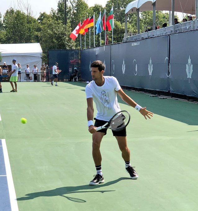 The ☀️ is out for @DjokerNole's morning practice! 👍 Djokovic will be facing fast-rising Stefanos Tsitsipas in our second match of the day on Centre Court. Don't miss it! #RogersCup Photo