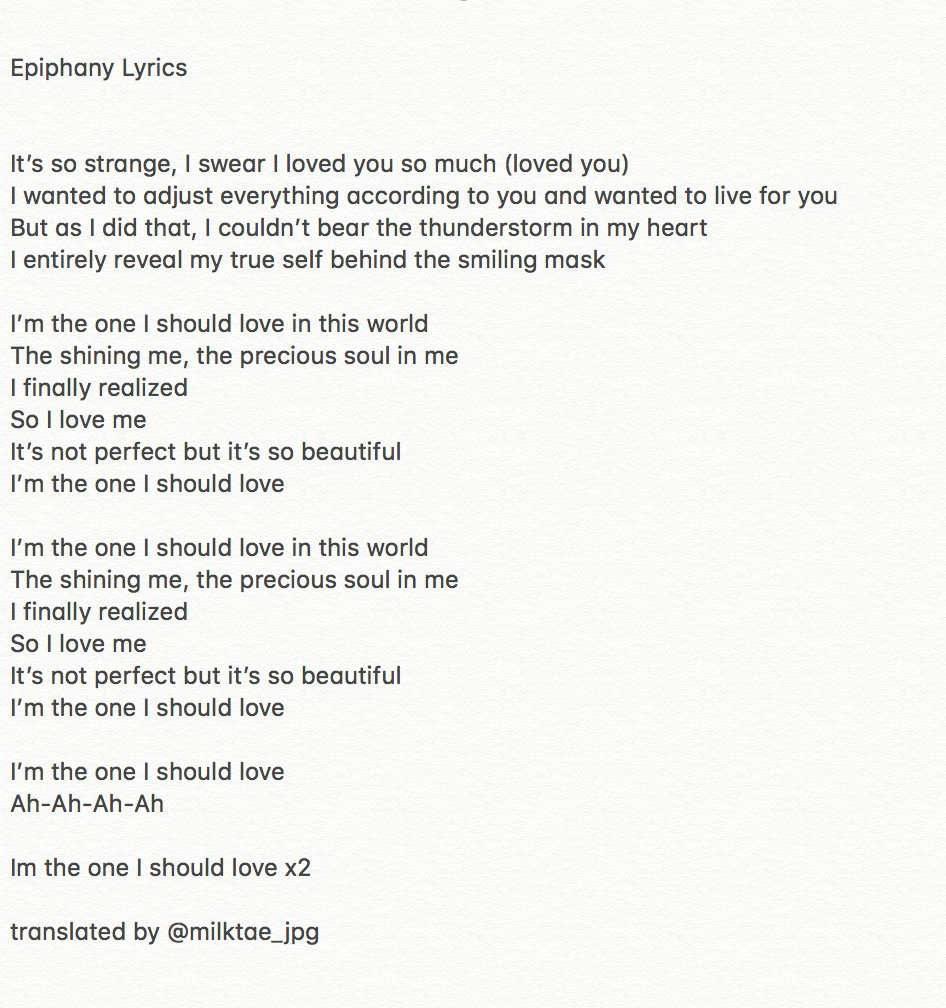 Jin epiphany lyrics english