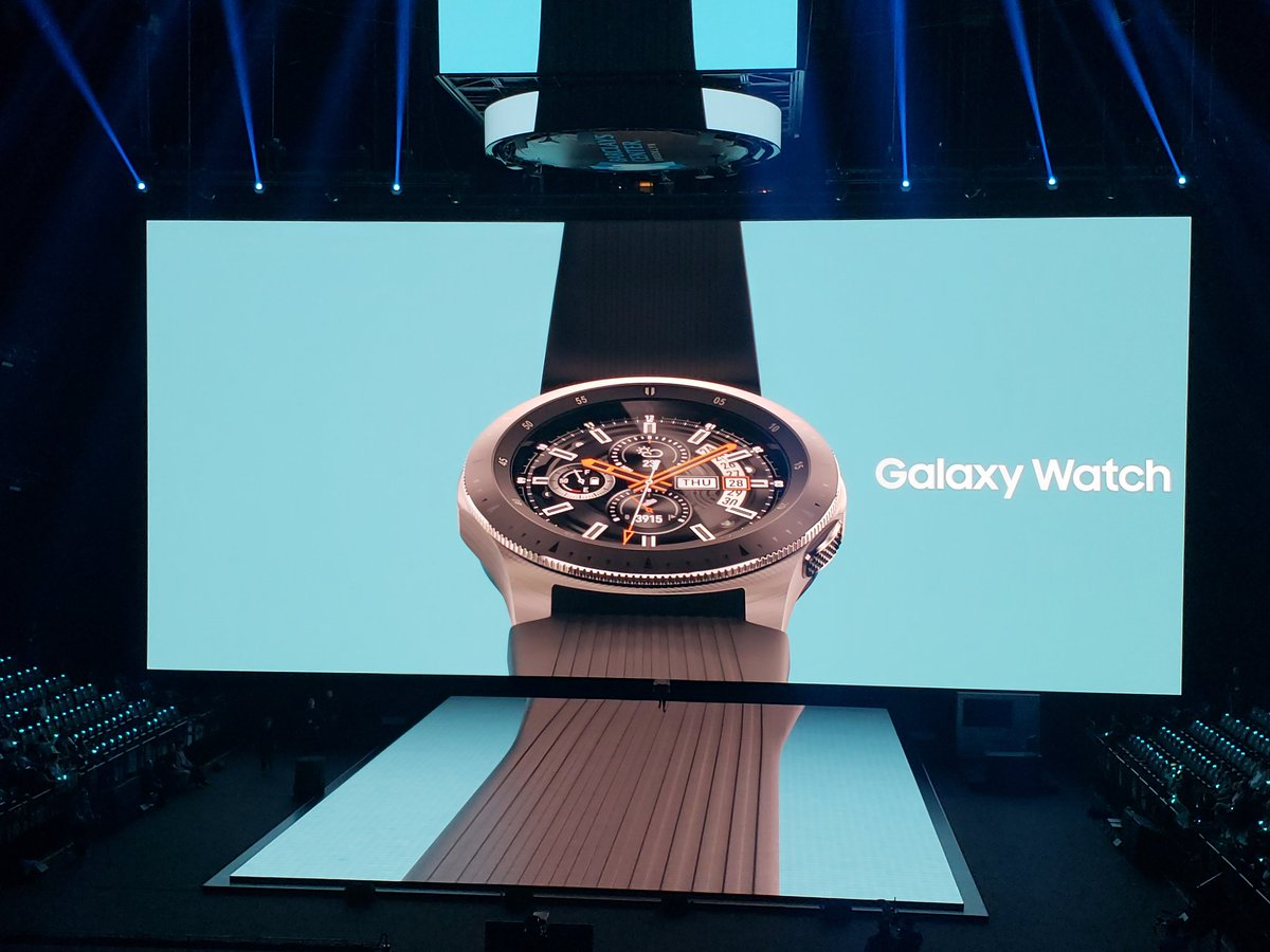 The Galaxy Watch has a circular, rotating bezel. It comes in two sizes, has strap options, and watch faces. Corning Gorilla DX+ glass, water resistance, and an AMOLED display. Standalone LTE is an option, and the Watch will sell with carriers #Unpacked2018 @CNET<br>http://pic.twitter.com/90z650yRay