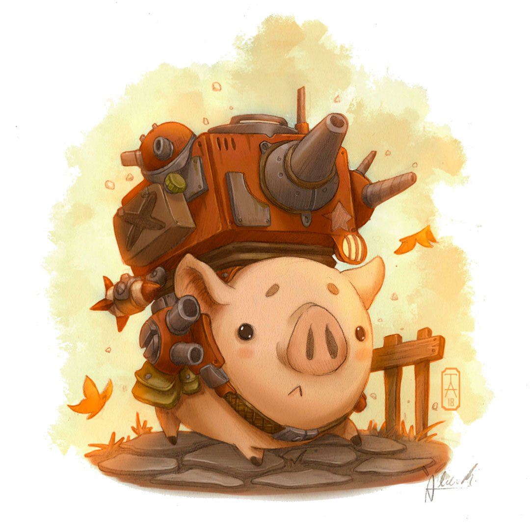 Piggy tank #ilustracion #art #characterdesign #conceptart  #draw<br>http://pic.twitter.com/G2dbF35cyd