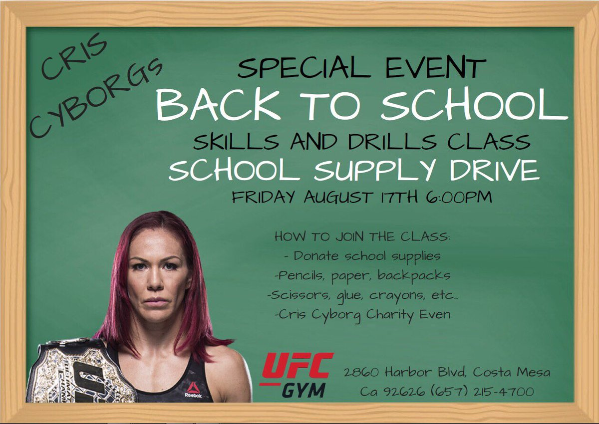 Check out @criscyborg and @UFCGYM working together to help families less fortunate get ready for #BackToSchool!