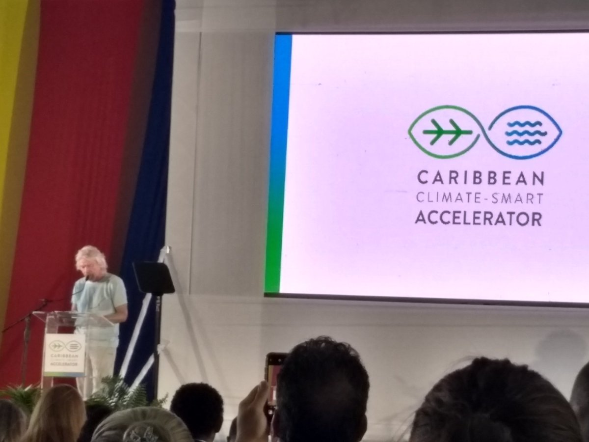 The Caribbean shall lead the way towards creating the first Climate-Smart Zone. - Sir Richard Branson @CYEN1 @CcdJamaica @UWImona @Petchary @IDB_Caribbean<br>http://pic.twitter.com/X5aiXrJmFJ
