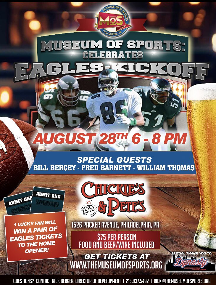 Celebrate EAGLES Kickoff with @MoSPhilly AUGUST 28th @ChickiesnPetes with Fred Barnett, Bill Bergey and Willie T.  One lucky fan will win 2 tix to home opener vs Falcons!   Purchase tix: http://the-museum-of-sports.ticketleap.com/eagles-kickoff/  #FLYEAGLESFLY #EaglesTwitter #EaglesCamp