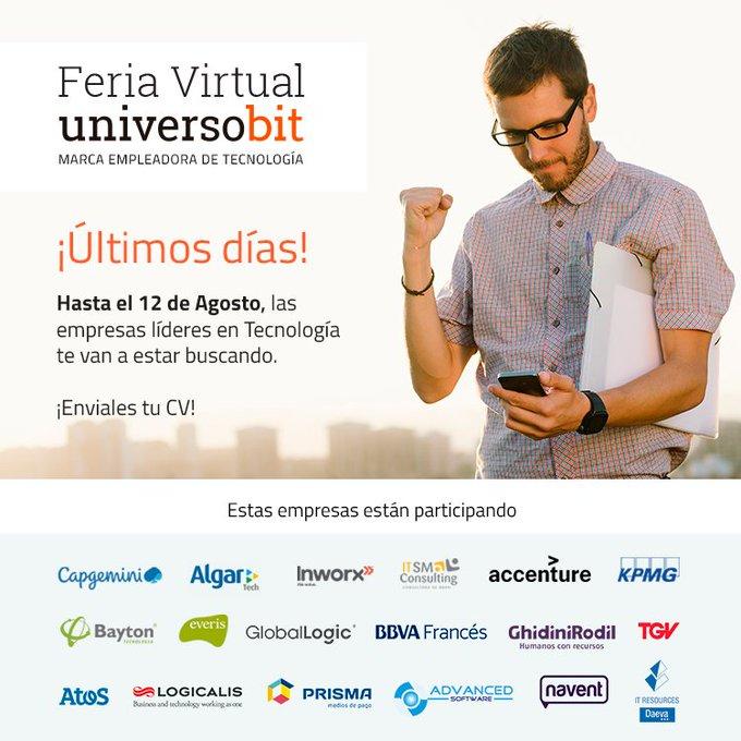 🗣️¡Últimos días de la Feria Virtual de Universobit! Hasta el 12/8 podés visitar el...