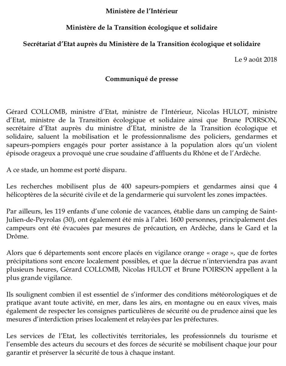 📌 #orages dans la vallée du Rhône : @gerardcollomb, @N_Hulot et @BruneInUSA saluent la mobilisation et le professionnalisme des 400 policiers, gendarmes et sapeurs-pompiers engagés pour porter assistance à la population en , #Ardèchedans le  e#Gardt dans la .#Drôme