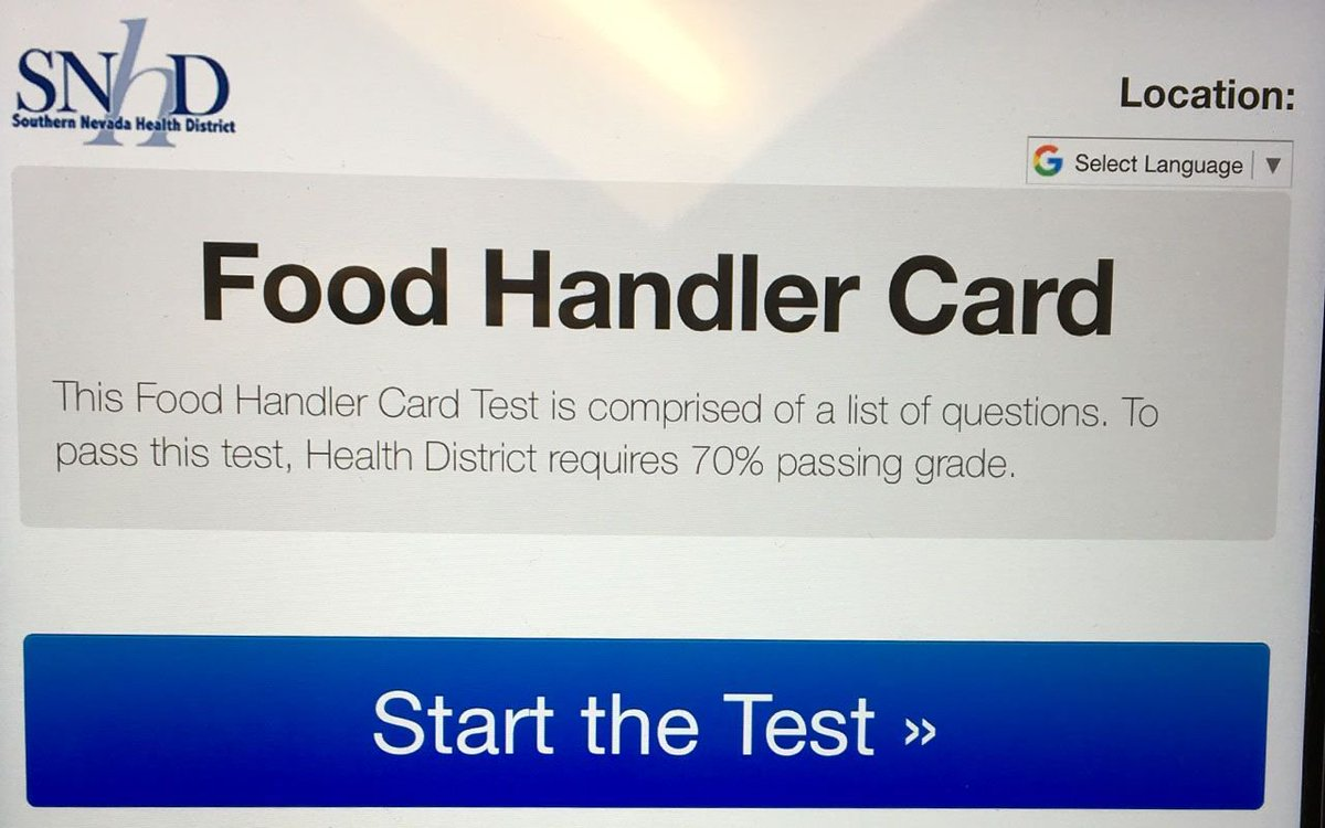 Sn Health District On Twitter Testing For Food Handler Safety