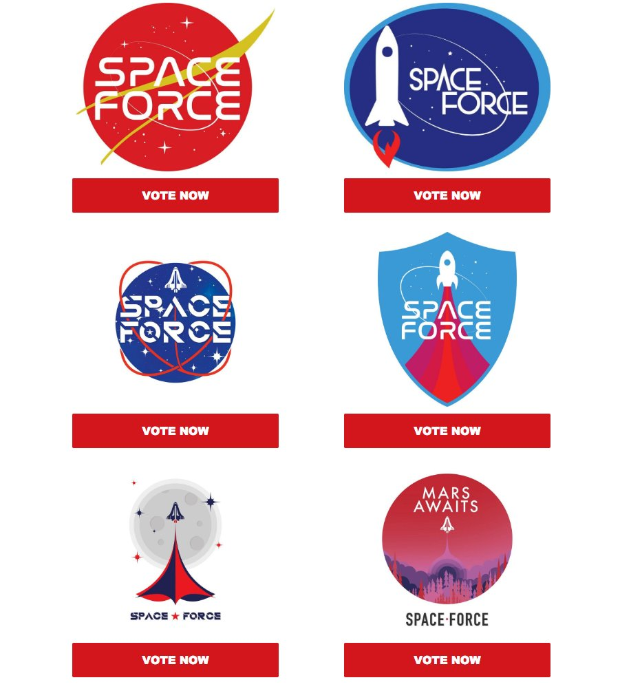 Trump campaign email just went out asking people to vote for a Space Force logo.