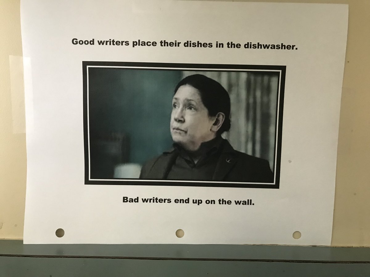 Aunt Lydia keeps us in line at the #HandmaidsTale office.