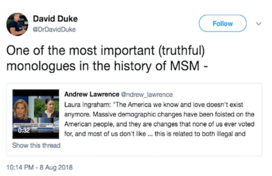 CONSERVATIVES: Laura Ingraham's monologue wasn't racist! DAVID DUKE: