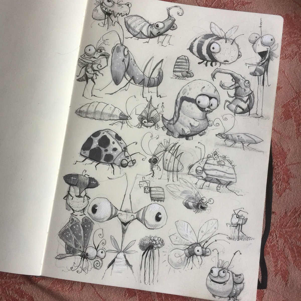 A page of bugs because, well, I dunno. I guess I like bugs. #bugs #insects #kidlitart #illustrations #sketchbook #childrensillustration #childrensbooks #characterdesign #instaartist #studies<br>http://pic.twitter.com/SdieKRaitA