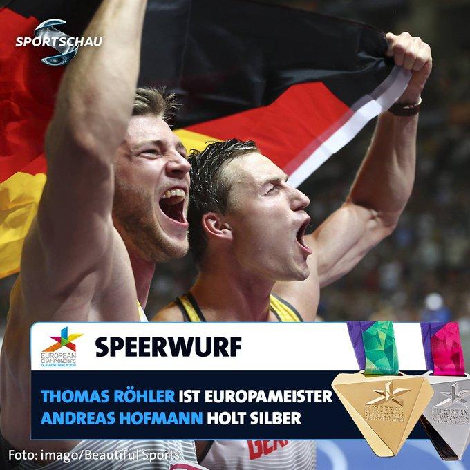 Die deutschen Speerwerfer feiern einen Doppel-Triumph bei der Leichtathletik-EM. #Berlin2018 Photo