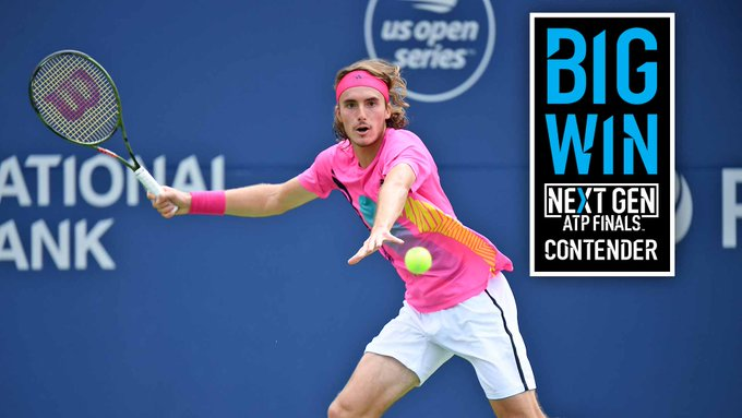 What. A. Win. One year ago this week, #NextGenATP 🇬🇷 Stefanos Tsitsipas was World No. 168. The 19yo just beat red-hot Djokovic 6-3, 6-7(5), 6-3 at the @rogerscup to reach his first #ATPMasters1000 QF. How impressive was that performance? 🤔 More ➡️ Photo