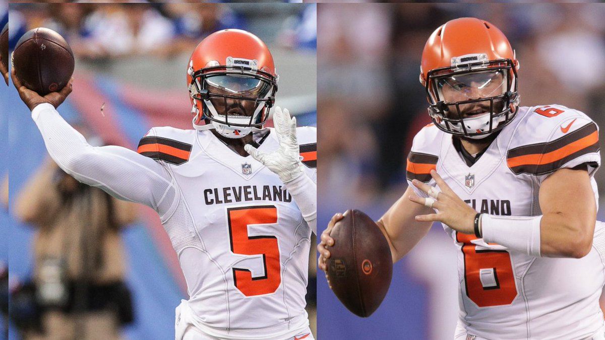 Cleveland Browns QB stats vs. Giants:  Tyrod Taylor:  5/5 99 yards 1 TD 158.3 QB rating  Baker Mayfield:  11/20 212 yards 2 TDS 125.4 QB rating  #CLEvsNYG <br>http://pic.twitter.com/ULAJK5M0mm