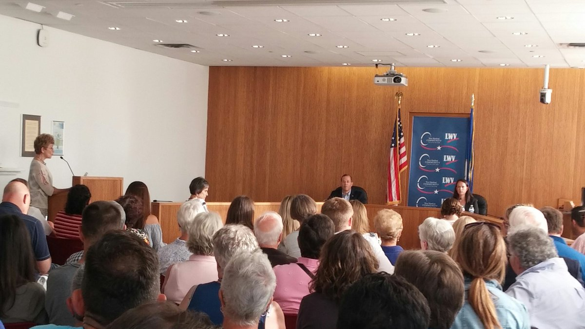 Many thanks to Andy Fleischmann and Jillian Gilchrist, West Hartford Community Television, moderator Carole Mulready, and all attending tonight&#39;s debate between Democratic candidates for the 18th House District. CT primary is Tuesday, August 14.   https://www. whctv.org / &nbsp;  <br>http://pic.twitter.com/KdqguQQ6KF
