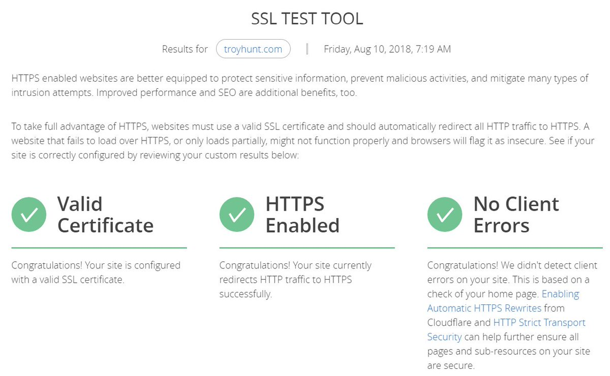 Troy Hunt On Twitter The Cloudflare Ssl Test Tool Is Pretty Neat