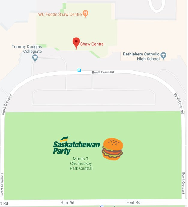 If you are in Saskatoon tonight, come join @scotmoe and your local MLAs between 4:30 and 7pm for a free burger 🍔!