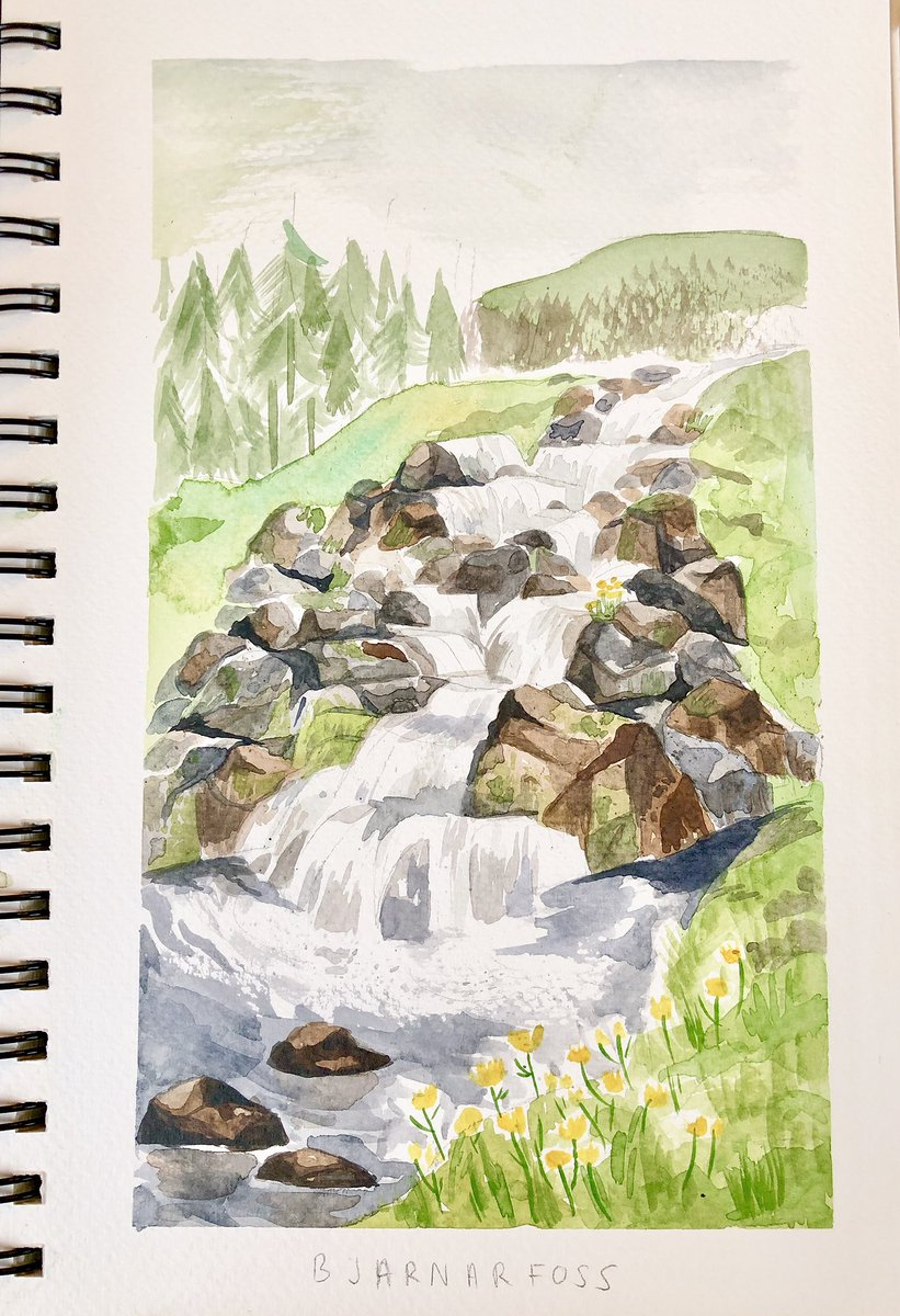 Painting in Iceland; my watercolours are super rusty but the places we went to were so beautiful!