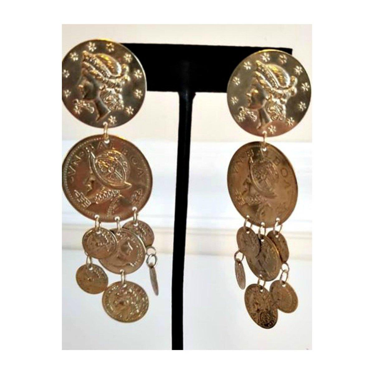 Vintage Coin Dangle Earrings Spanish Chandelier Bohemian Gold Tone Spain 1970s