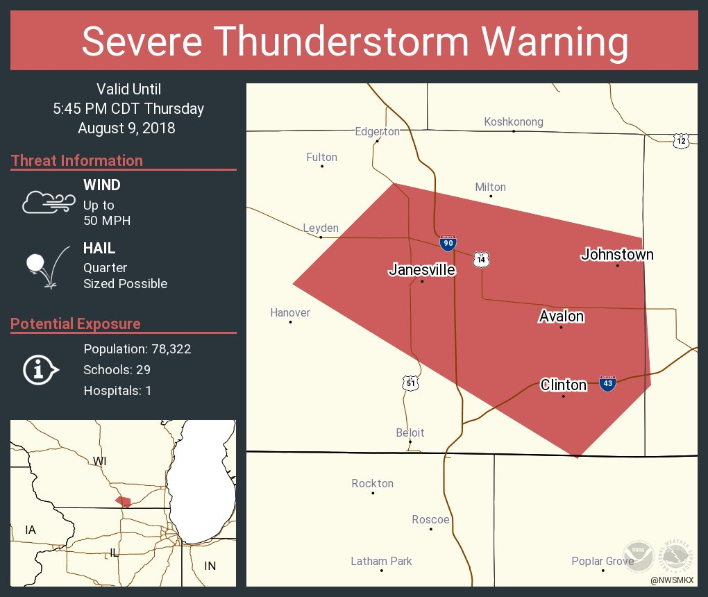 Nws Milwaukee On Twitter Severe Thunderstorm Warning Including
